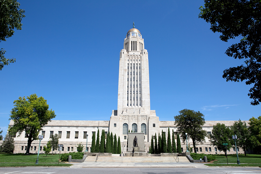 Nebraska State Capitol Building in Lincoln.