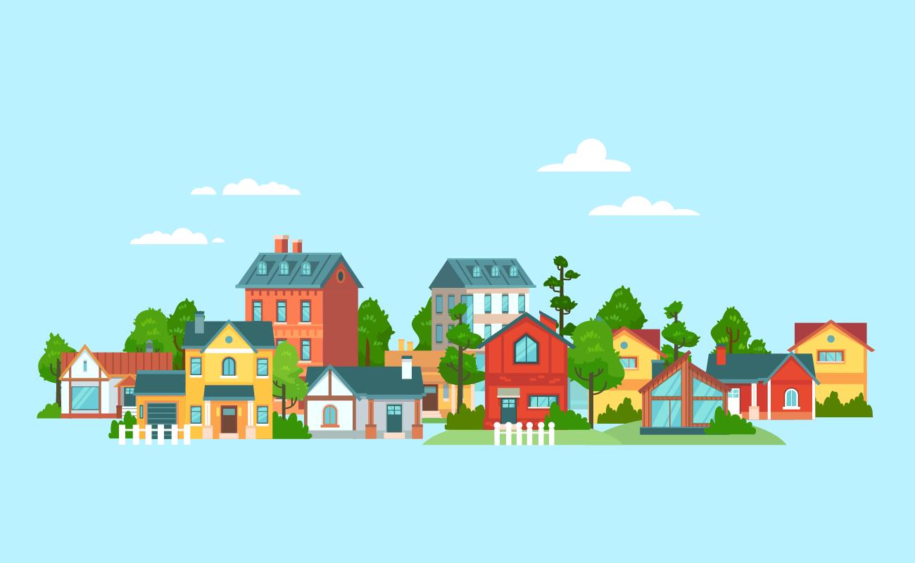 Neighborhood with various houses.