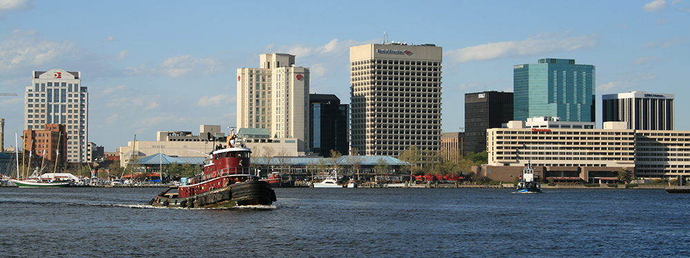 Downtown Norfolk Skyline.