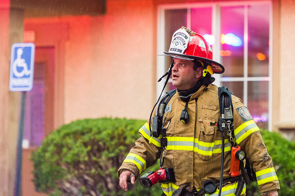 Firefighter at the Avignon appartment fire in Olathe.