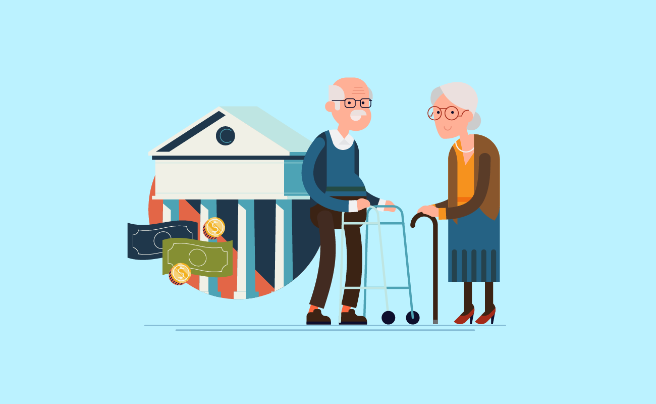 Old couple at the bank.