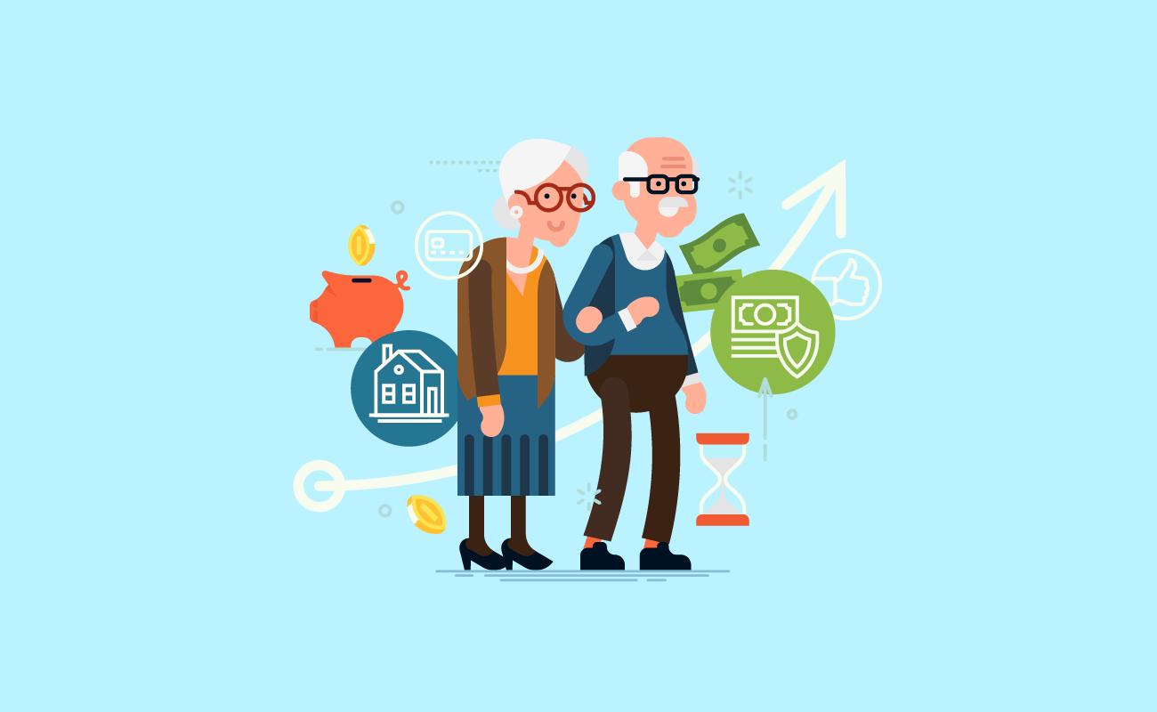 Old couple tracking savings.