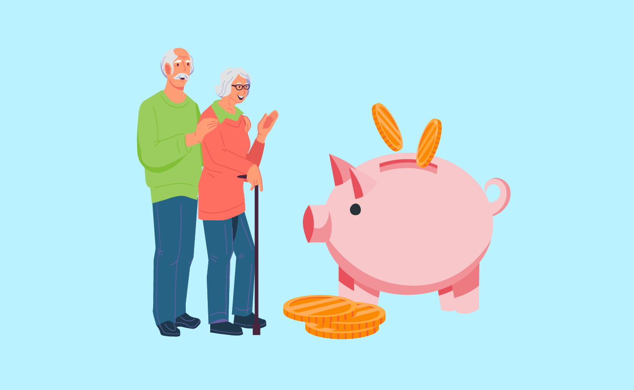 Old couple with piggybank savings.