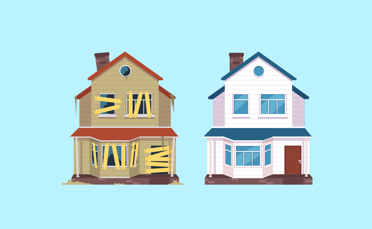 Old to refurbished houses.