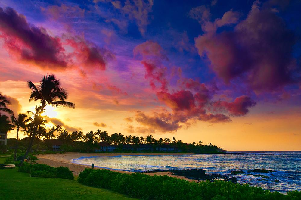 Sunset Over the Pacific Ocean Near Hana, Maui, Hawaii.