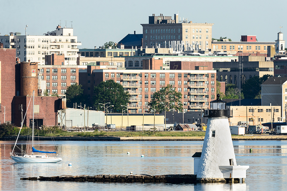 Palmer Island Lighthouse and New Bedford, Massachusetts Waterfront.
