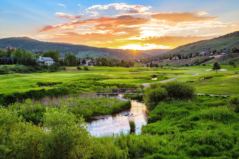 Sunset Over Park City, UT Golf Course.
