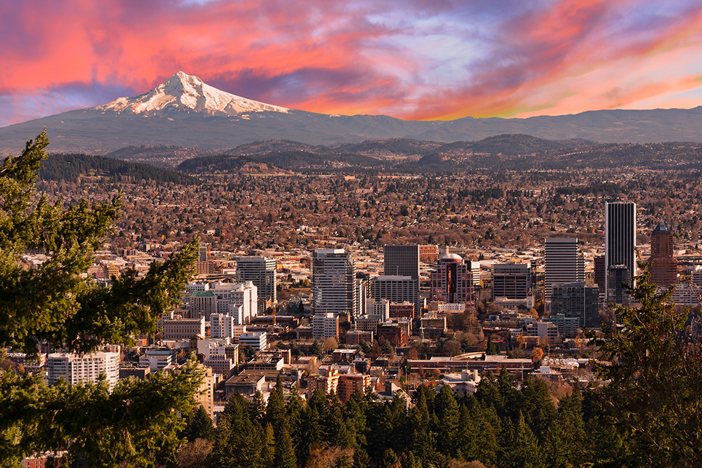 Sunrise over Portland, Oregon.