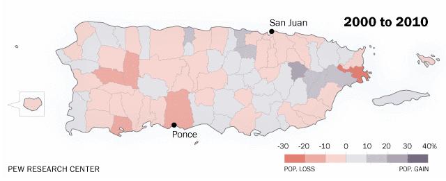 Puerto Rico Population Decline Graph 2000 to 2010.