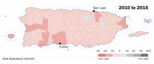 Puerto Rico Population Decline Graph 2010 to 2015.