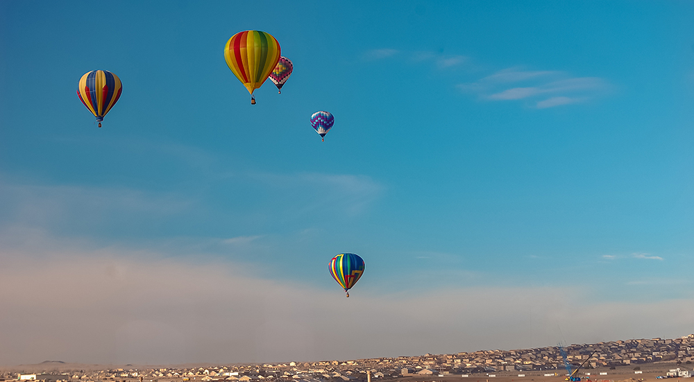 Hot Air Balloons Flying Over Rio Rancho, New Mexico.