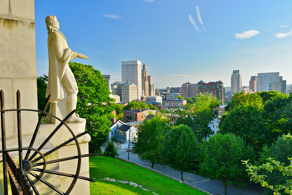 Roger Williams Statue Overlooking Providence, RI.