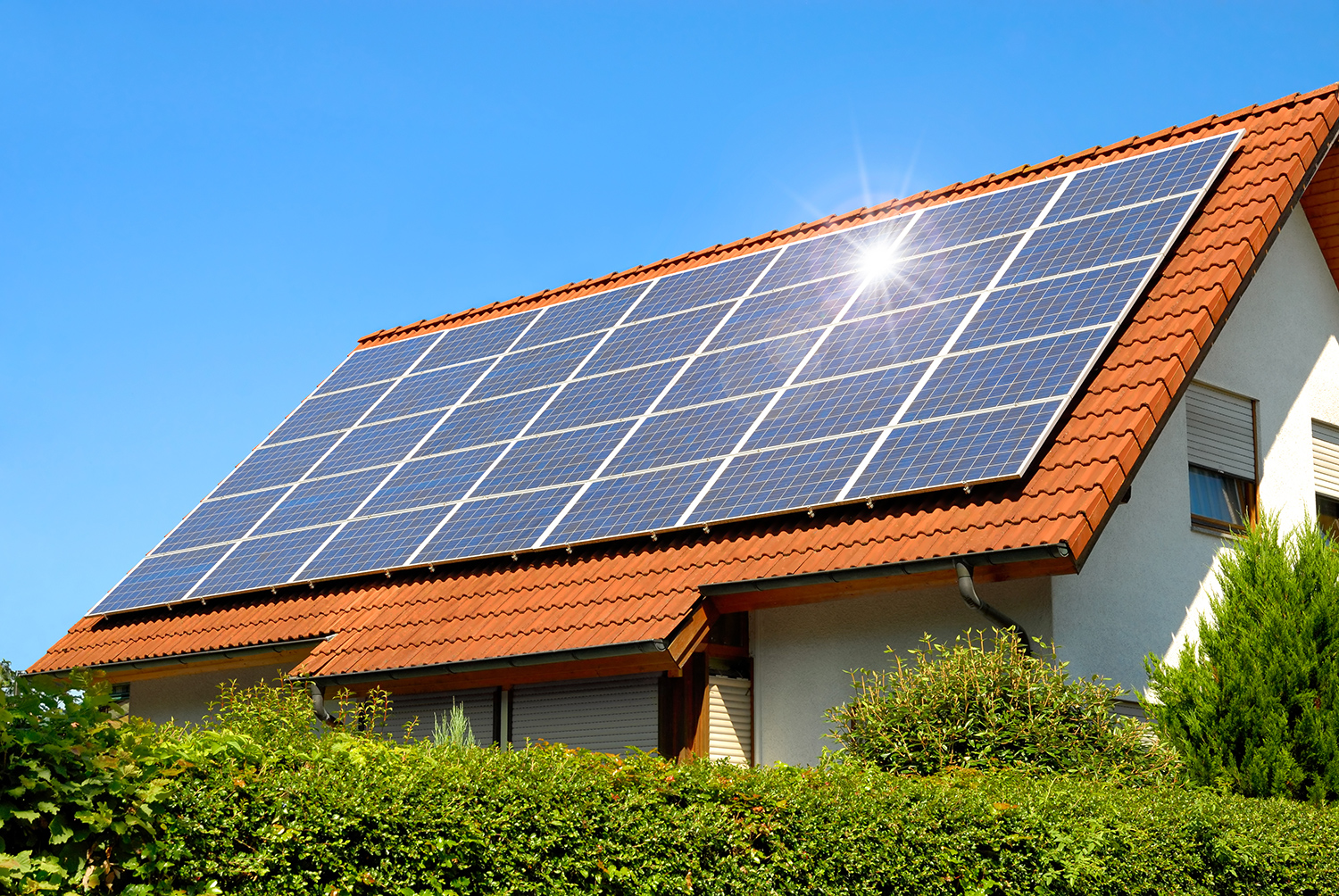 Roof With Solar Panels.