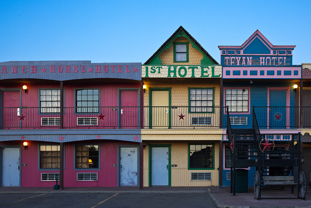 Hotels on Route 66 in Amarillo, Texas.