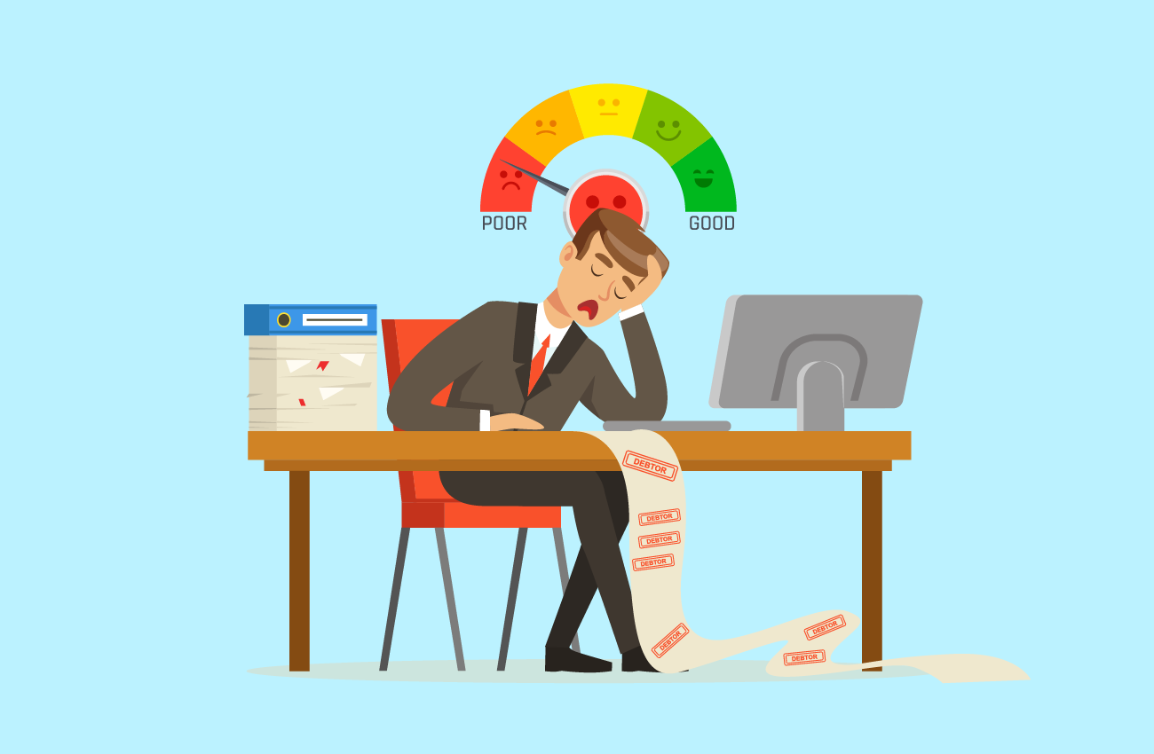 Man sad about having a low credit score.