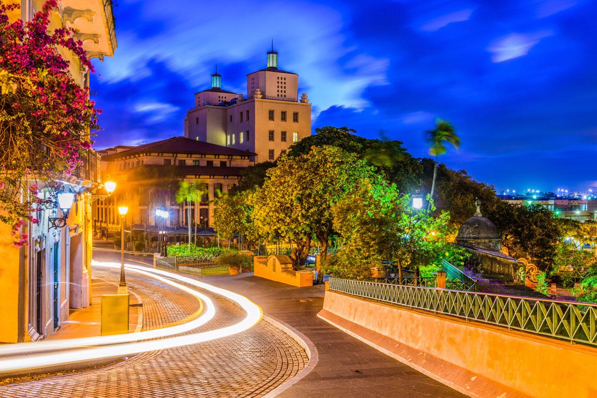 San Juan Puerto Rico at night.