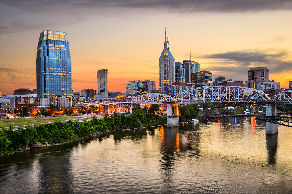 Nashville Skyline with Shelby Street Bridge.