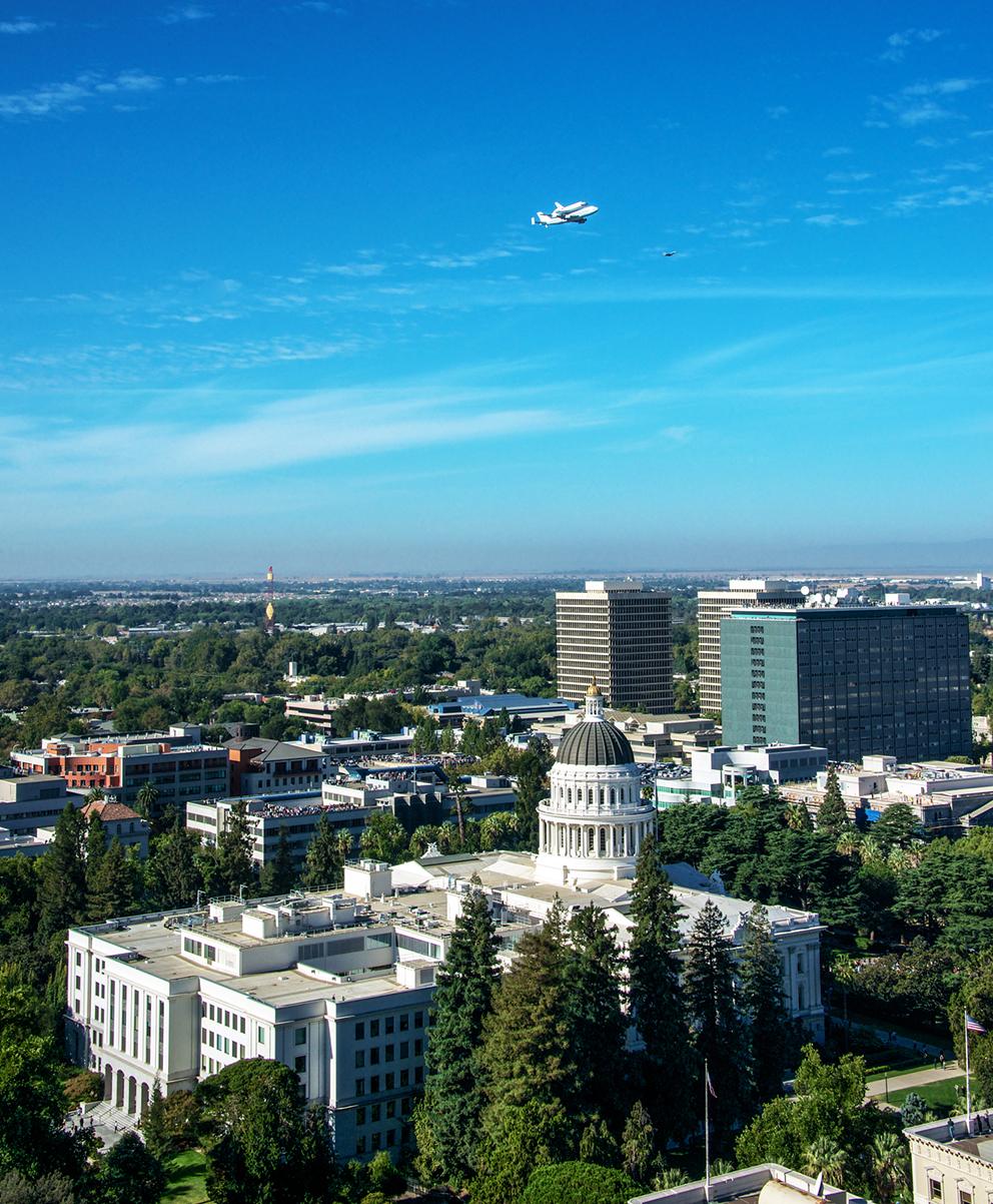 Space Shuttle Endeavour Flying Over Sacramento.