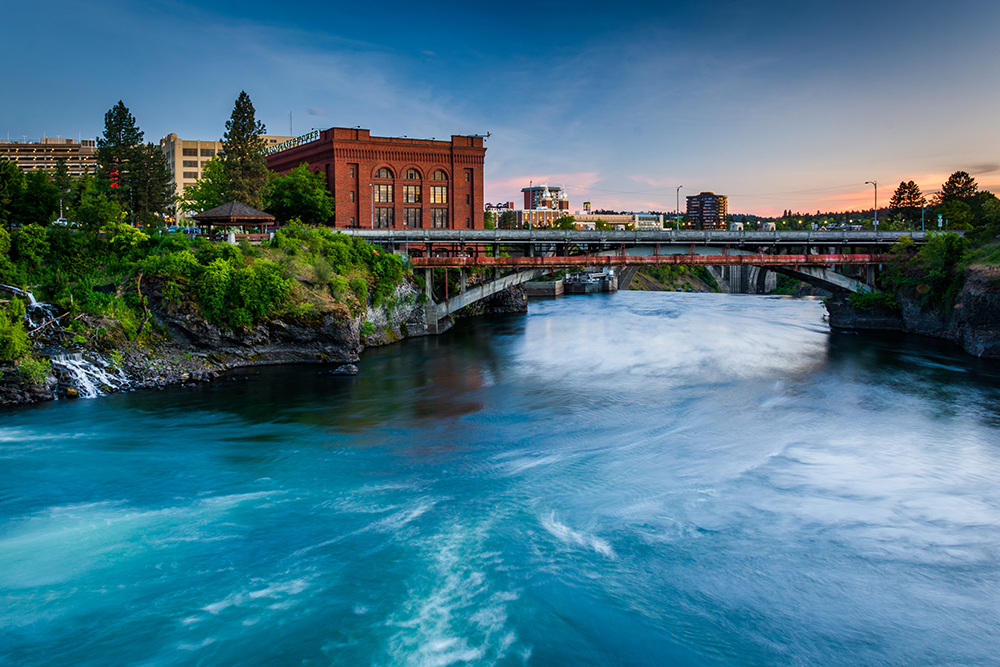 Spokane River at Sunset.