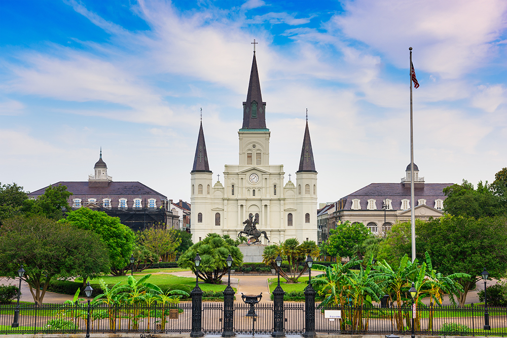 Jackson Square & the St. Louis Cathedral in New Orleans.