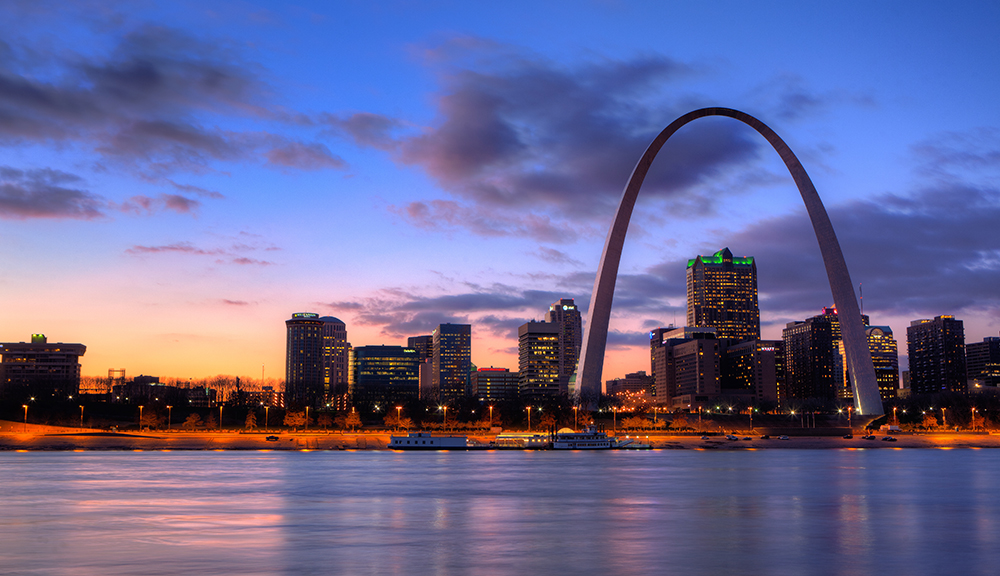 Gateway Arch and St. Louis Skyline.