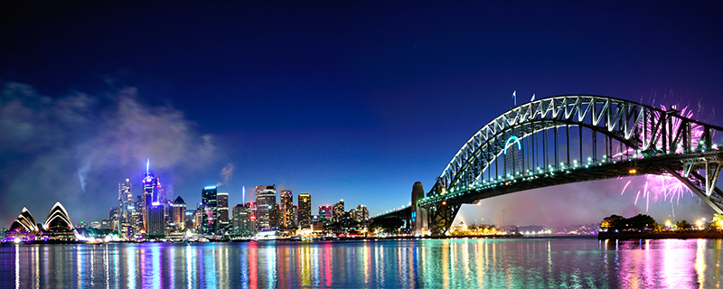 Sydney Harbour With Fireworks.