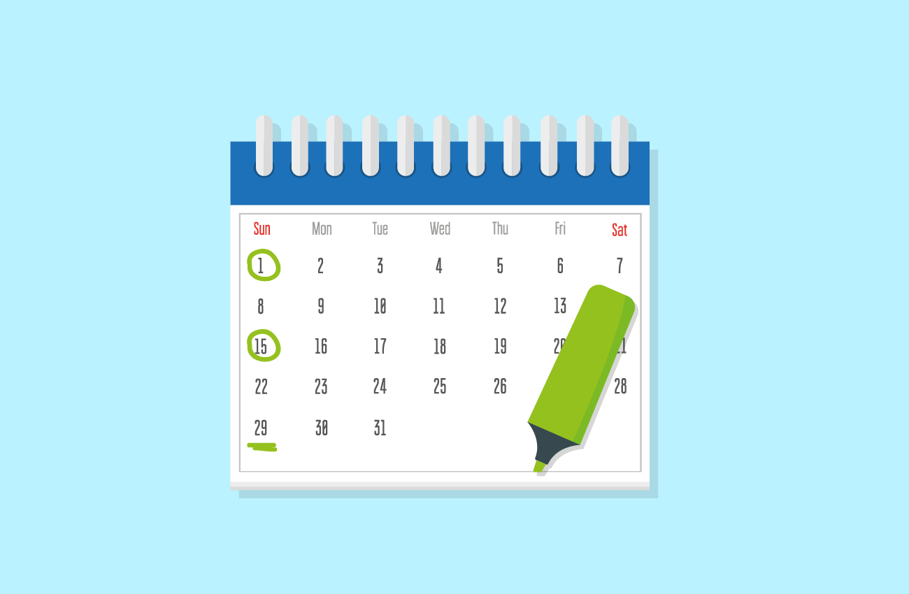 Calendar with biweekly payments marked.