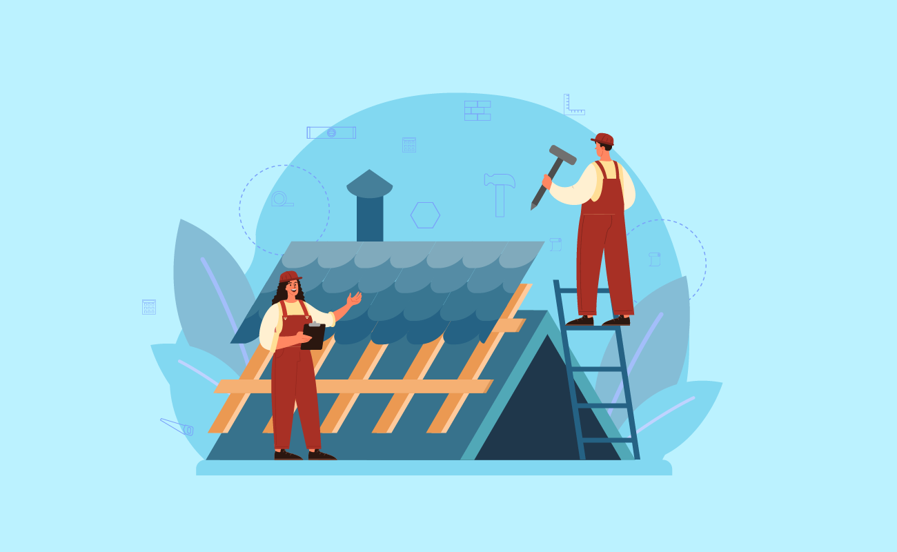 Vector illustration of two construction workers repairing a roof.