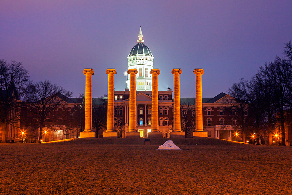 Columns in front of the University of Missouri.