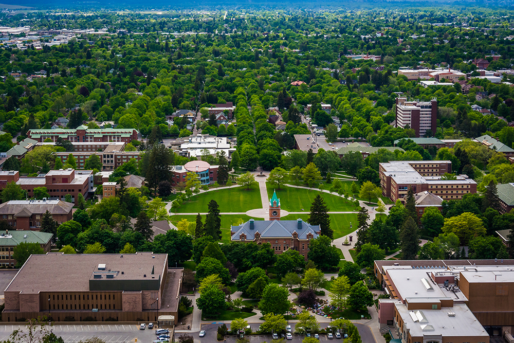 Aerial View of the University of Montana from Mount Sentinel.