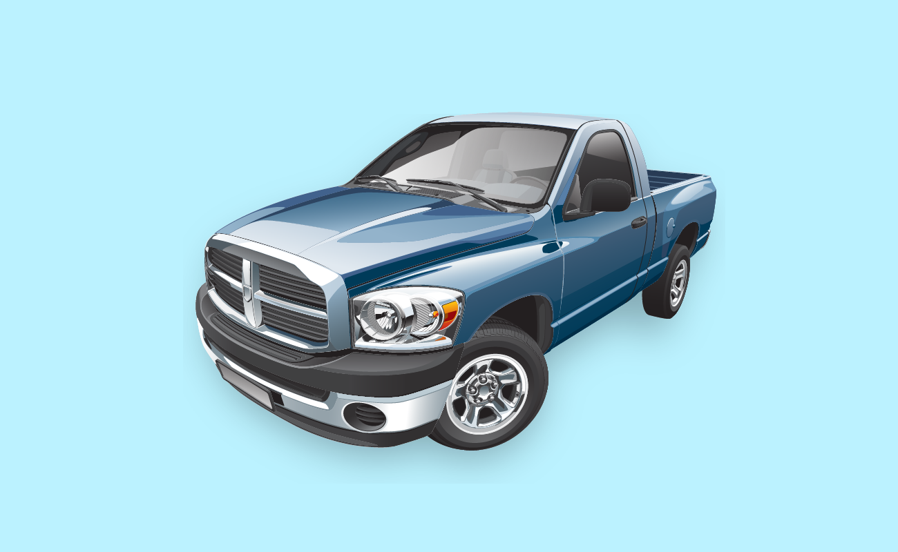 Vector Illustration of a Blue Pickup Truck.
