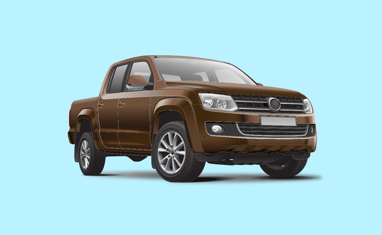 Vector Illustration of a Brown Pick Up Truck.