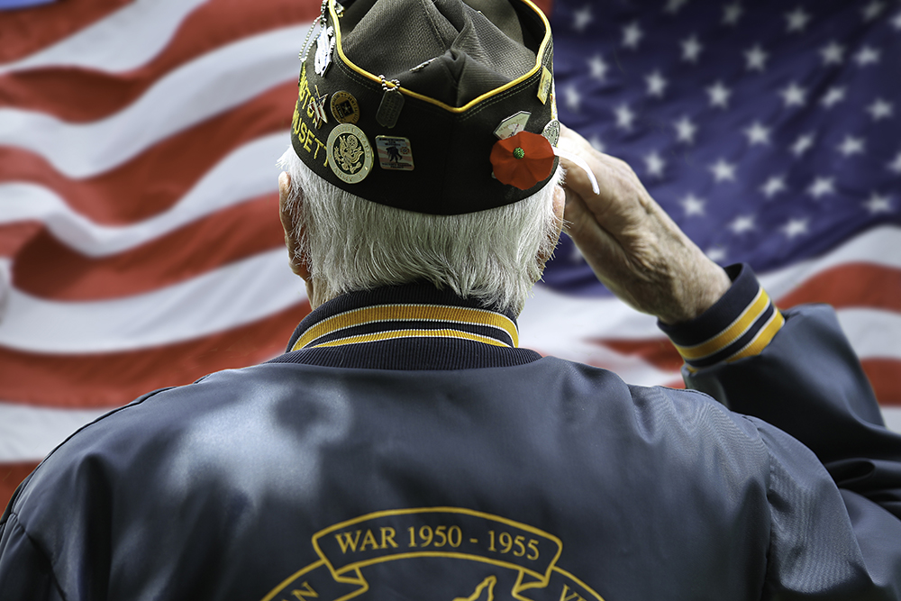 Veteran Saluting the United States Flag.