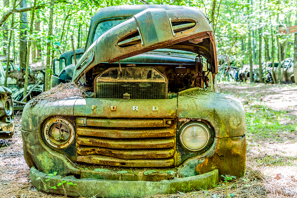 Vintage Green Ford Pickup.
