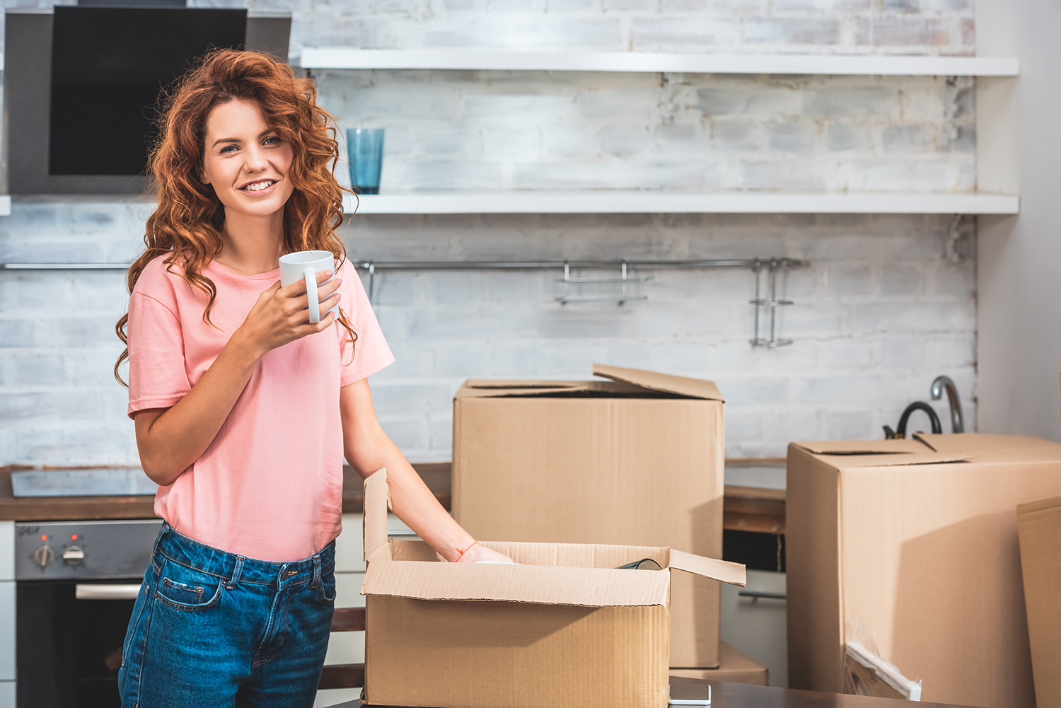 Woman Packing and Moving.