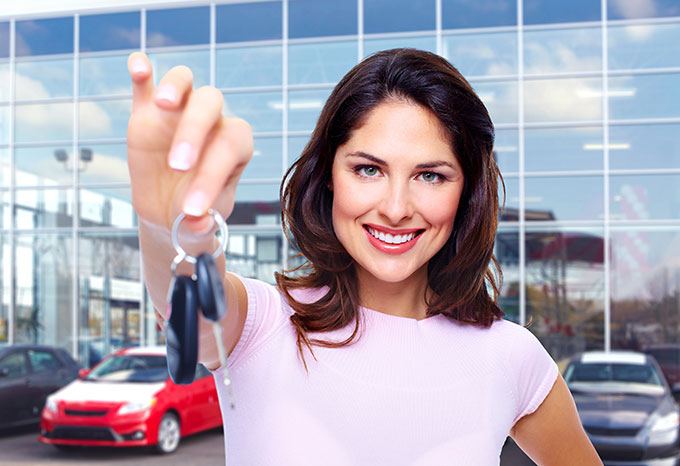 Woman Holding Car Keys.